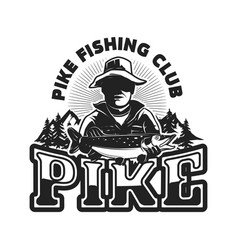 Pike fishing emblem template with fisherman vector