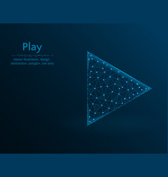 play symbol multimedia polygon icon on blue vector image