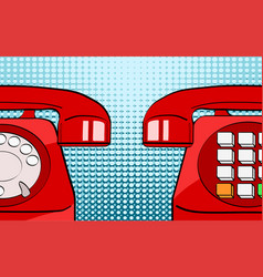 pop art retro comic style two red old phones on vector image
