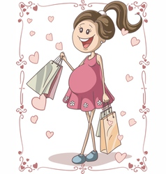 Pregnant woman with shopping bags vector