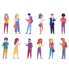pretty people in masks with smartphones character vector image