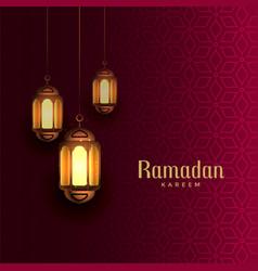 Ramadan kareem beautiful greeting with hanging vector