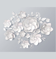 Realistic white paper flowers set vector