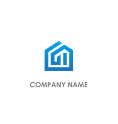 realty home building line logo vector image