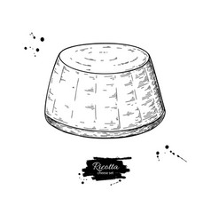 Ricotta cheese drawing hand drawn food vector