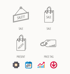 Sale present bag and price tag icons vector