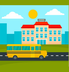 school bus driving to school background flat vector image