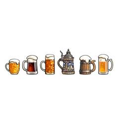 set beer mugs oktoberfest stein old wooden vector image