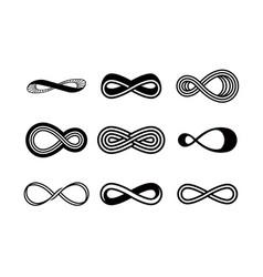 Set infinity symbols black contours vector