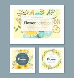 set invitation cards with colorful flowers 3 vector image