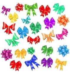Set multicolored bows vector