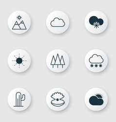 Set of 9 landscape icons includes cold climate vector