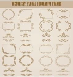 set of gold decorative borders frame vector image