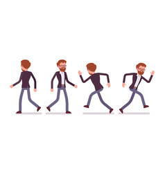 Set of male manager in walking running poses vector