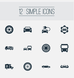 Set of simple automobile icons vector