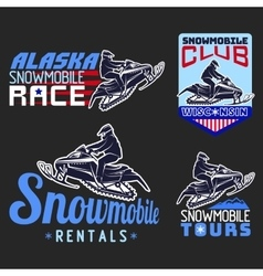 Set winter snowmobile emblems badges and icons vector