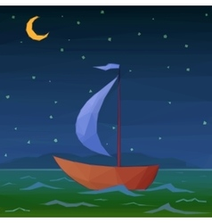 Ship Floats in Night Sea vector
