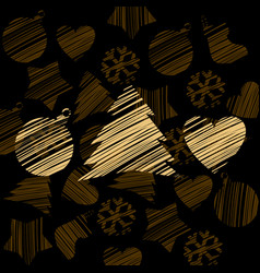 silhouette a stroke christmas tree heart vector image