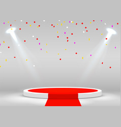 Stage podium with confetti scene for award vector