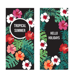 summer banners with tropical leaves and flowers on vector image