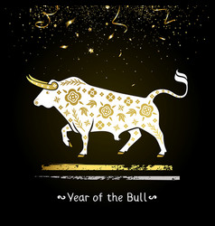 symbol year white bull with gold vector image