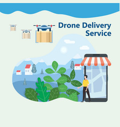 the concept of delivery of the drone flies with vector image