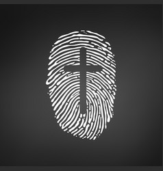 Thumb prints or fingerprint with cross showing vector