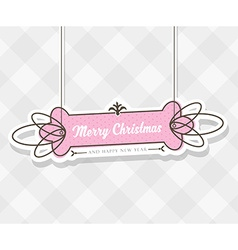 Vintage christmas background with hanging sign and vector
