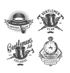 Vintage monochrome gentleman emblems set vector