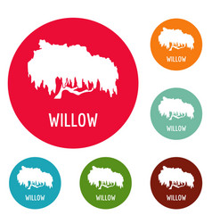 Willow tree icons circle set vector