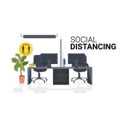 workplace desk with sign for social distancing vector image