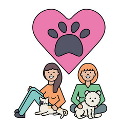 Young girls with cute cat and dog mascots vector
