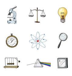 atom and prism with perpetual motion compass and vector image vector image