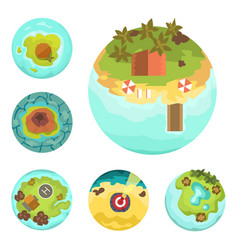 cartoon tropical exotic island in ocean top view vector image vector image