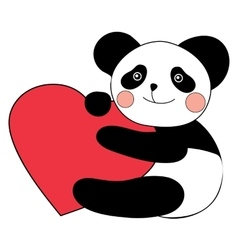 Panda with heart happy valentines day vector image