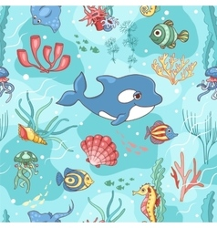 Seamless pattern with killer whale vector image