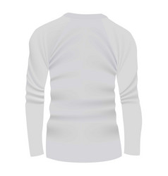 back of white tshirt long sleeve mockup vector image