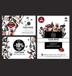 banner and card for master class makeup artist vector image vector image