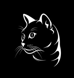 cat face design on black background vector image