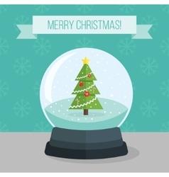Flat of christmas snow ball vector image