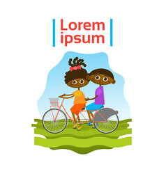 little kids riding tandem bicycle african american vector image
