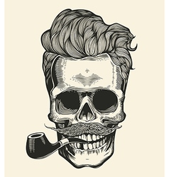 Skull Hipster skull silhouette with mustache vector image