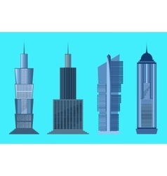 Skyscraper icon set isolated on blue background vector image