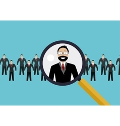 Finding professional staff with magnifying glass vector image vector image