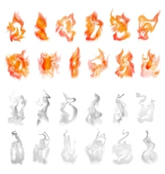 Fire and smoke set vector