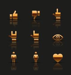 Golden social icons set vector image vector image