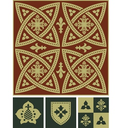 Middle ages ornament set vector