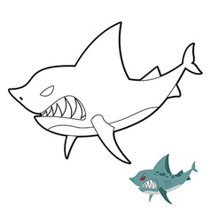 Shark coloring book Angryl underwater animal vector image vector image