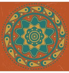 Turquoise ornament on orange background vector image