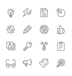 business office stationery line icons vector image vector image